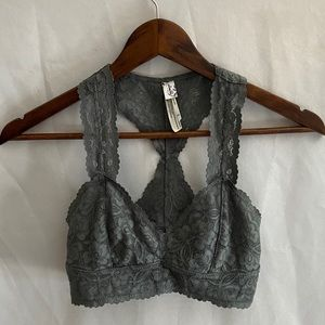 Free people bralette gray with lace racer back